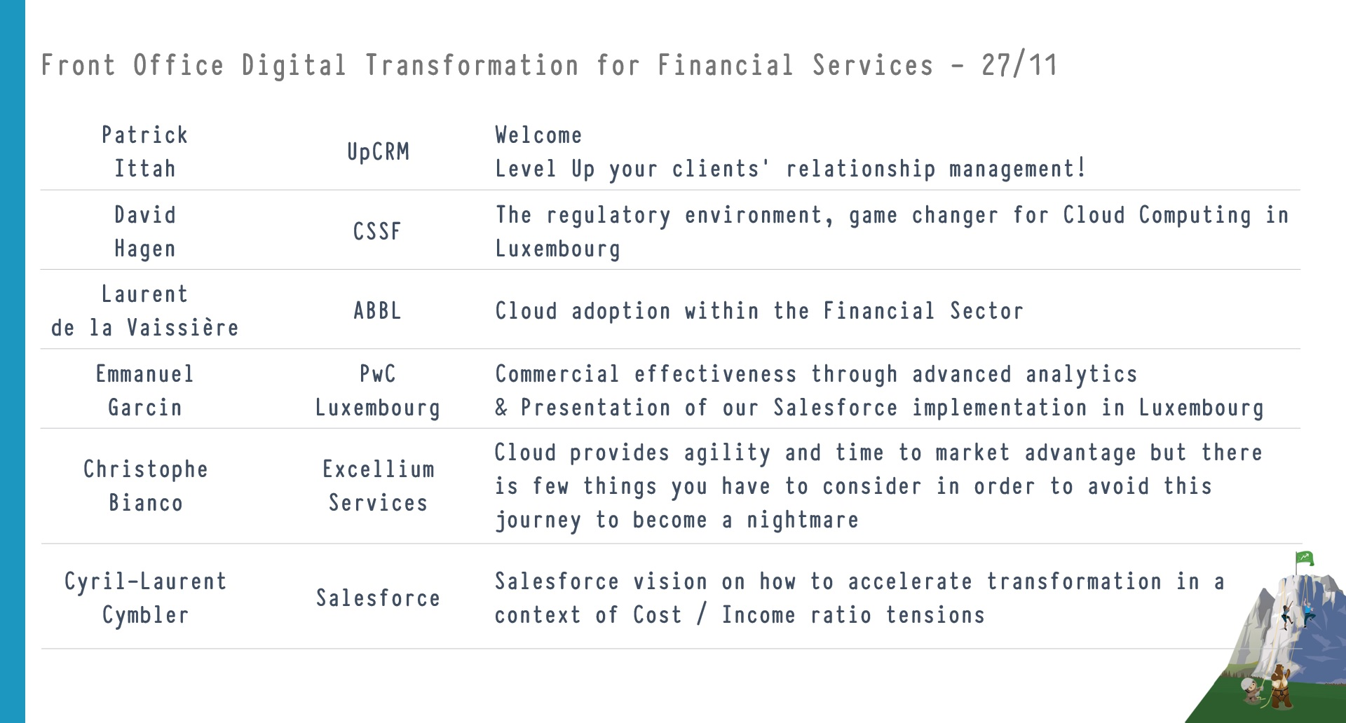Front Office Digital Transformation for Financial Services - Agenda